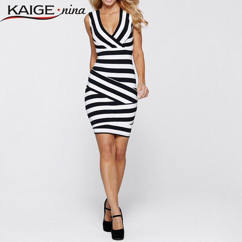 Kaigenina nueva summer dress elegante de las mujeres del nuevo verano de rayas t