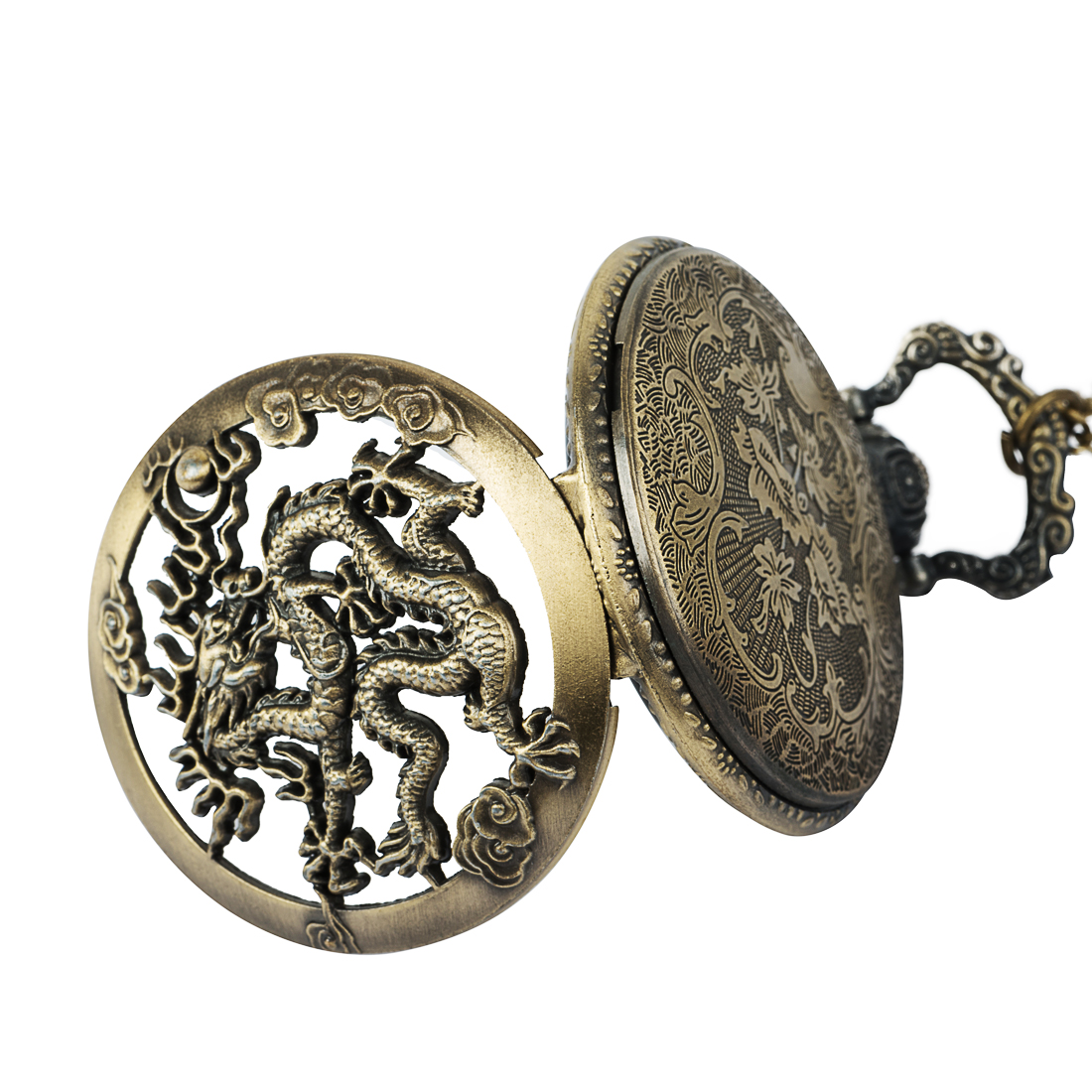 Pocket & Fob Watch Bronze Hollow Dragon Pocket Watch Chains Pendant Necklace Chinese Totem Pocket Watches for Men/Women