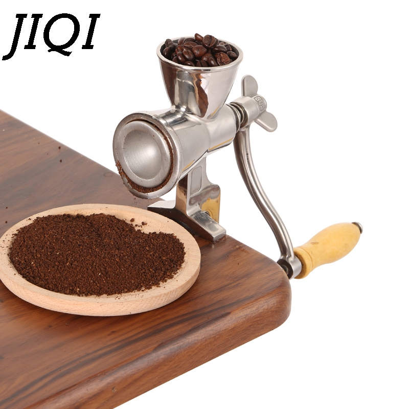 JIQI Household Manual Coffee Bean Mill Stainless Steel Manual Coffee Mill Stand Operation Coffee Grinder Convinent Rice Soybean