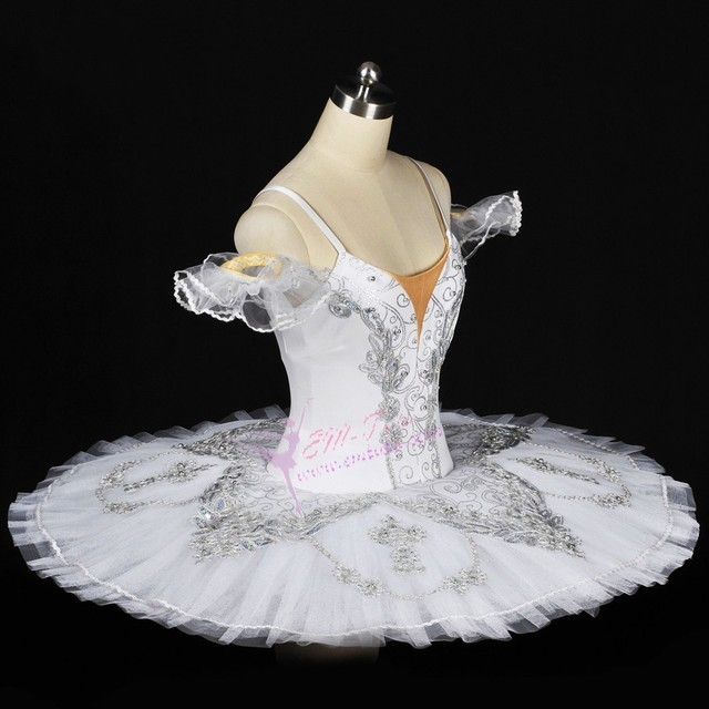 Adult Women Silver White Professional Ballet Tutuspancake Performance Tutu Costumes Grand Pas
