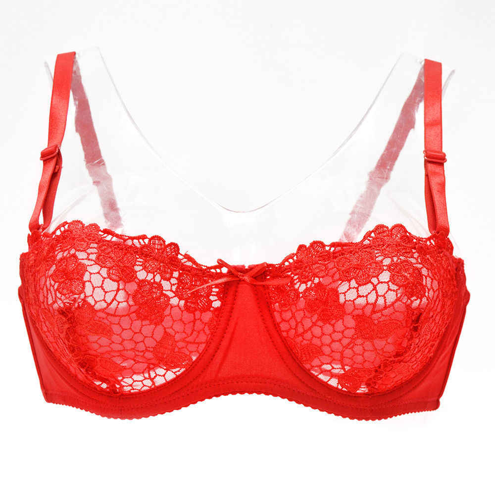 New Lace Bras for Women Lingerie Mesh Bralette Cropped Tops Ultra-thin Underwire Ladies Brassiere Black White Red A B C D Cups