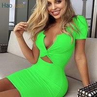 HAOYUAN сексуальное неоновое зеленое оранжевое ребристый трикотажный мини облегающее платье с коротким рукавом женская одежда с вырезами 2019 л...