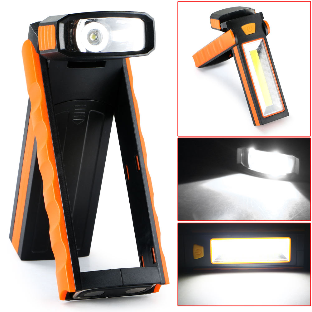 1Pc 3W COB LED Work Light Adjustable Flashlight Inspection Lamp Hand Torch Camping Tent Light Lantern Portable With Hook Magnet zpaa 2017 portable 3w cob led camping work inspection light lamp usb rechargeable pen light hand torch with usb cable