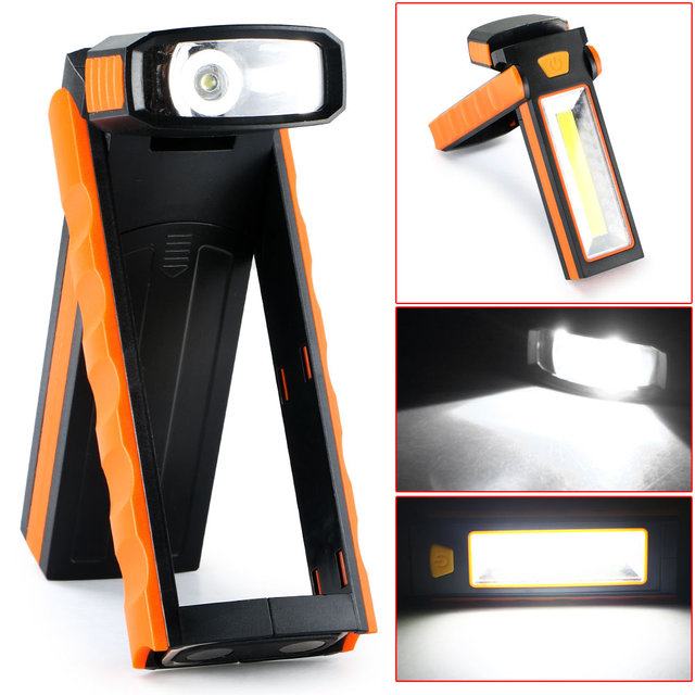 1Pc 3W COB LED Work Light Adjustable Flashlight Inspection Lamp Hand Torch  Camping Tent Light Lantern
