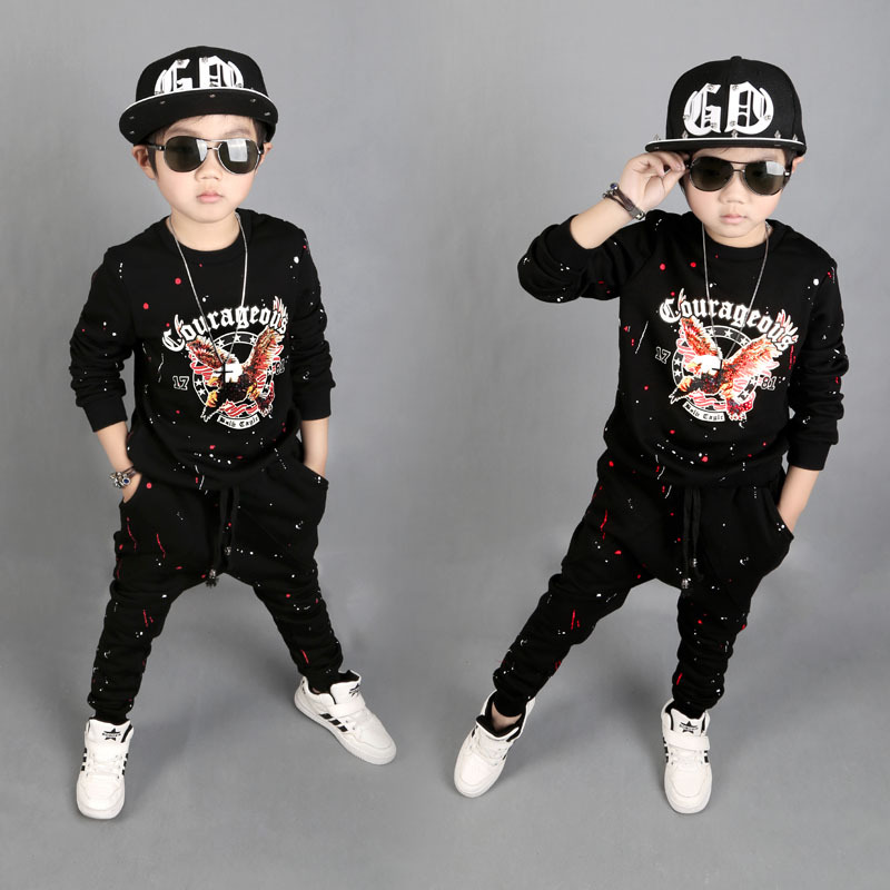 Magituby Fashion Boys Clothes Cotton Children Baby Clothing Sets Shirt and Pants Fire Print Kids Summer Hip Hop Sports C029