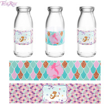 FENGRISE The Little Mermaid Bottle Stickers Party Supplies Birthday Decor Kids Baby Shower