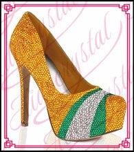Aidocrystal hohe qualität gelb grün silber kristall design absatz-dameschuhe für abendgesellschaft größe 5 ~ 13