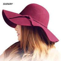 Autumn Winter Summer Fashion Fedoras Vintage Pure Women's Beach Sun Hat Female Waves large Brim Sunbonnet Fedoras lady Sun Hat