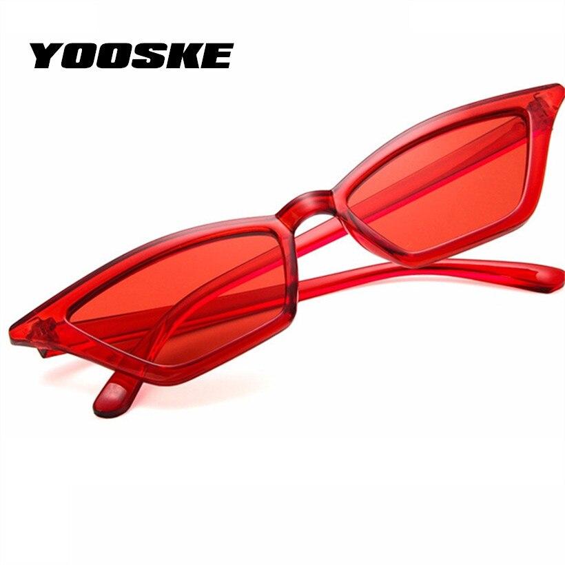 YOOSKE Vintage lunettes de Soleil Femmes Cat Eye Lunettes de Soleil Rétro  Marque Designer Petites Dames b925256bca11