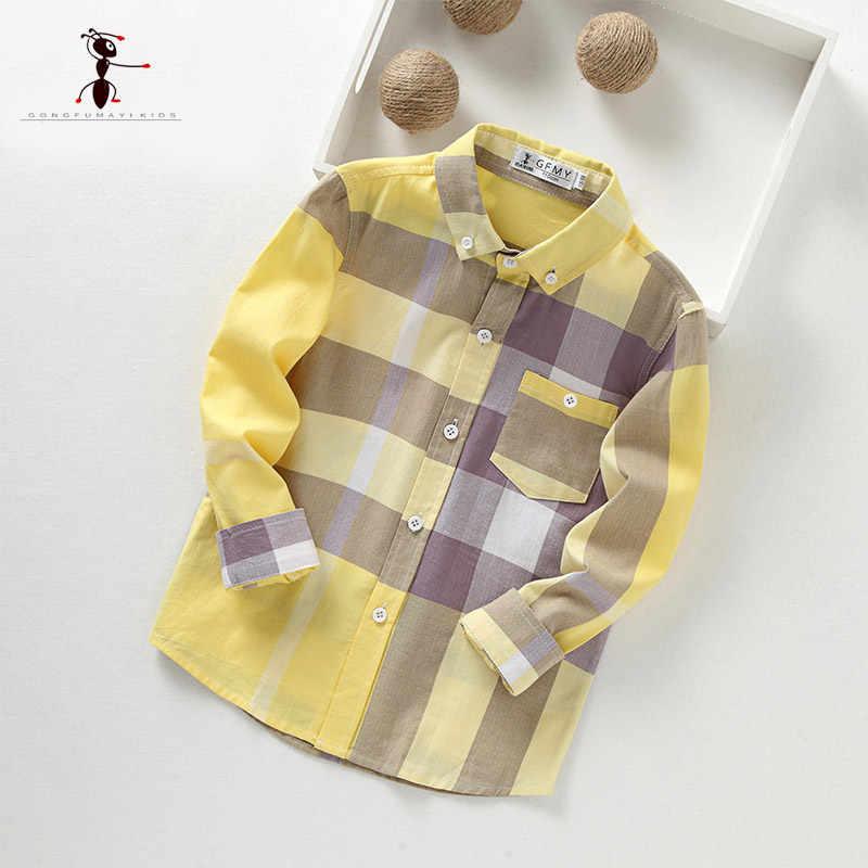 KungFu Ant/2018 хлопковая рубашка с длинными рукавами и воротником-стойкой в желтую клетку для детей от 3 до 10 лет, Детские рубашки для мальчиков 2349