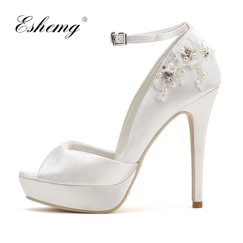 Eshemg Bridal Wedding Shoes String Bead White Women High Heel Pumps Shoes Women Ladies Party Peep Toe Shoes