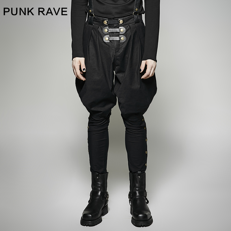 2017 Punk Rave Gothic Rock Mens Fashion military uniform PU Pants full length loose overalls pants K-269