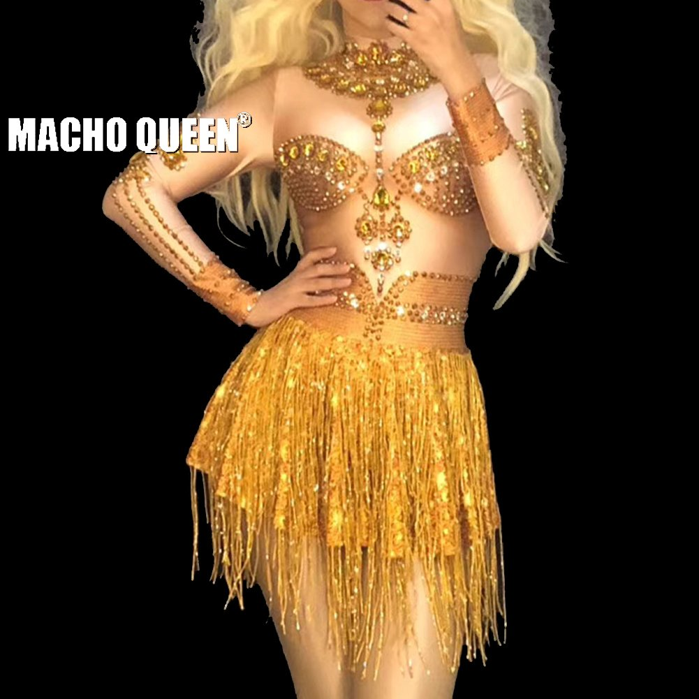 7a08f64abf Drag Queen Costumes Sexy Gold Rhinestone Fringe Bodysuit Crystal Jumpsuit  Celebrity Red Carpet Runway Performance Party