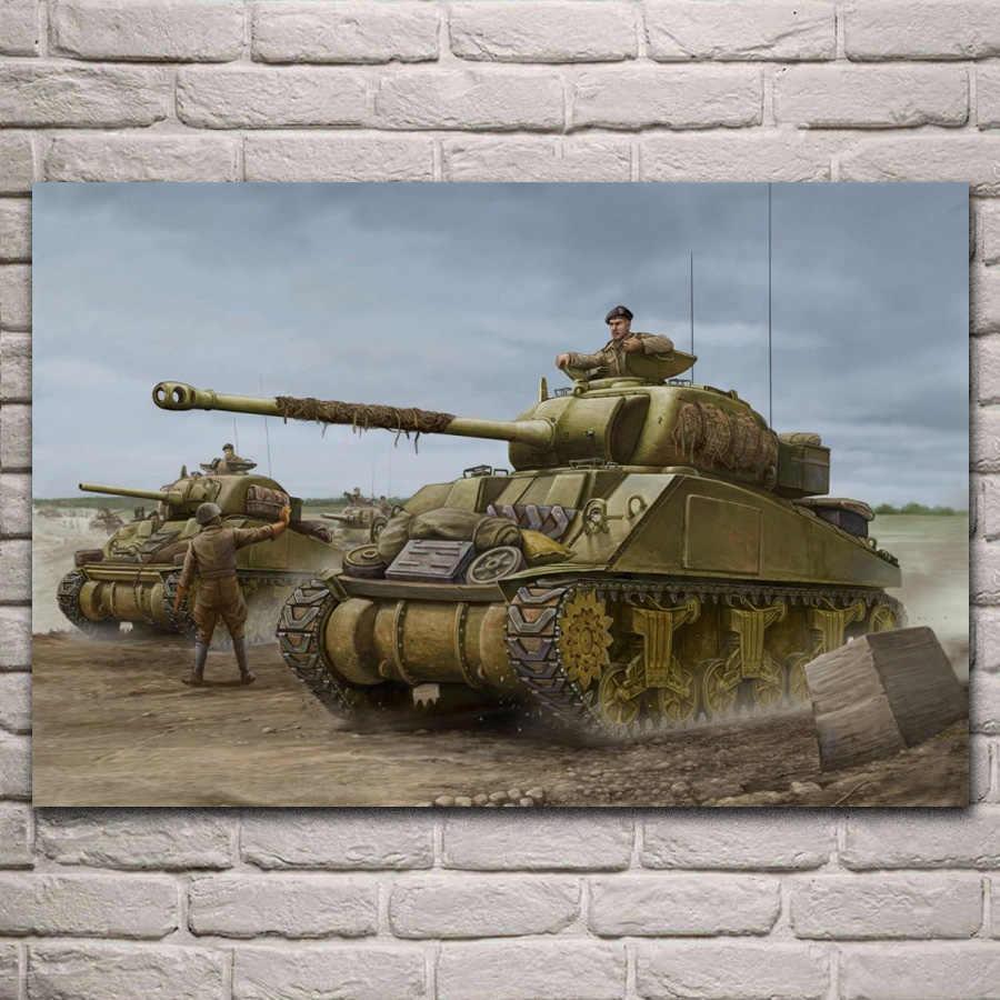 Sherman Firefly tanks british army ww2 artwork living room decoration home  wall art decor wood frame fabric poster QX130