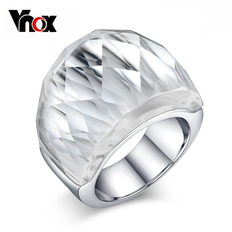 Vnox Colorful Big Rhinestone Women Ring for Women Stainless Steel Female Jewelry free gift box High Quality