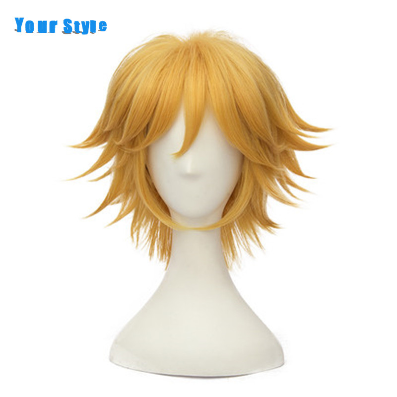 Your Style Short Yellow Curly Male Mens Wigs Cosplay Party Blonde Natural Fake Hair Synthetic High Temperature Fiber