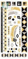 V4521/New 2015 Special Waterproof flash tribal temporary metallic gold with black flesh tattoos free shipping