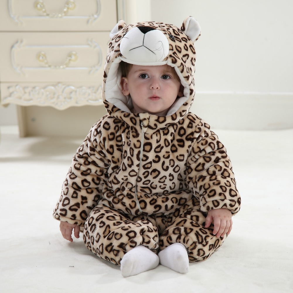 2016 Novelty Newborn Cotton With Fleece Cartoon Baby Clothes Boys Girls Jumpsuit Rompers