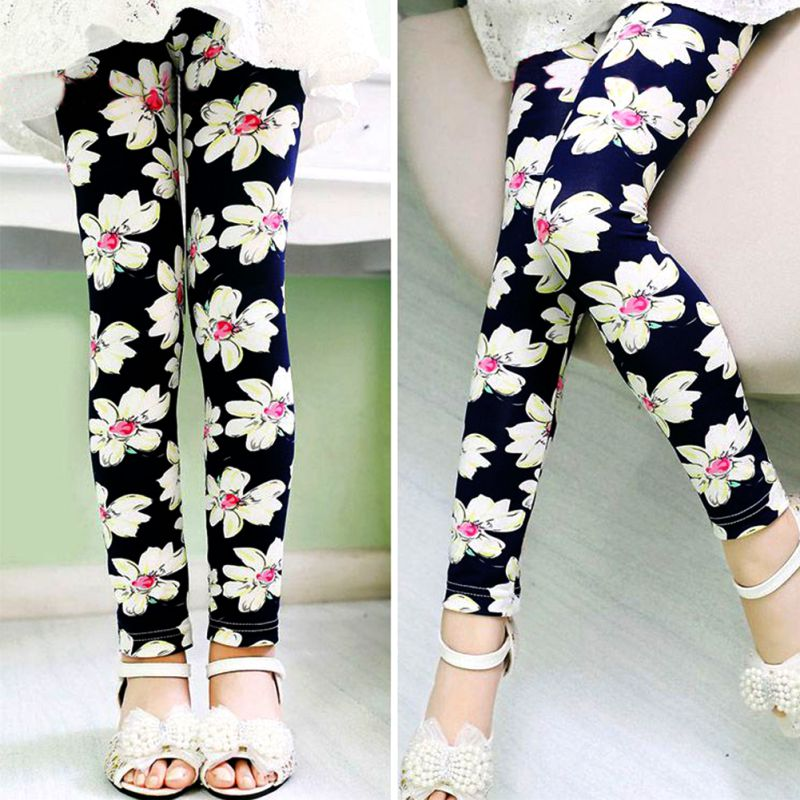 2018 Hot Selling Girl Leggings Children Print Flower Classic Leggings Solid Color Skinny Pants 2-13Y watercolor print leggings