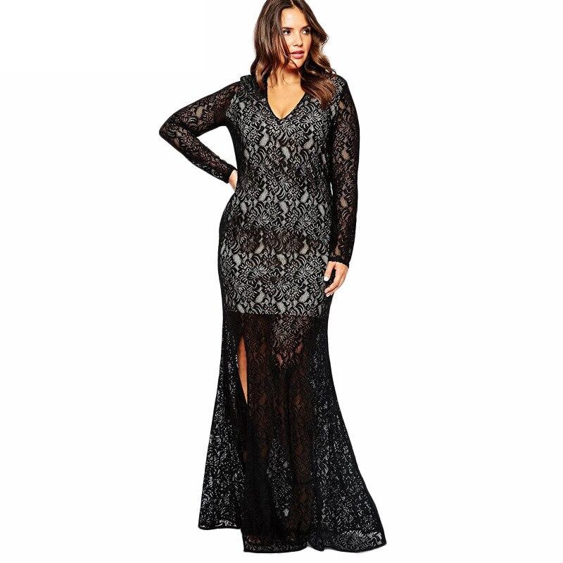 ᗖ5xl 6xl 7xl Long Sleeve Lace Maxi Dresses Big Size Fashion 2017