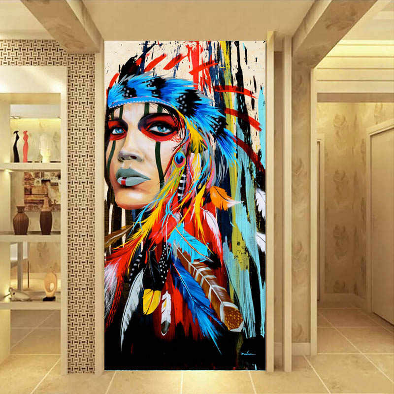 RELIABLI ART Wall Art Painting American Native Girl Poster Prints Canvas Art Warrior Women Wall Pictures Living Room