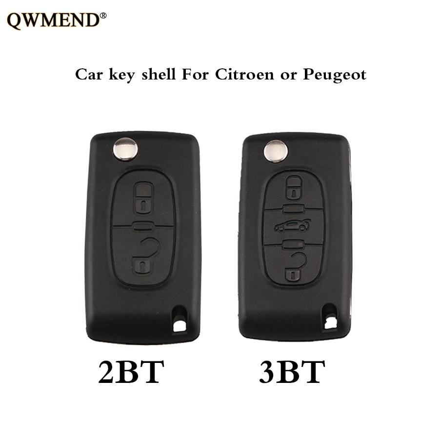 QWMEND Case Remote-Key-Shell Ce0536-Model Peugeot 3-Buttons HU83/VA2 Citroen No-Logo