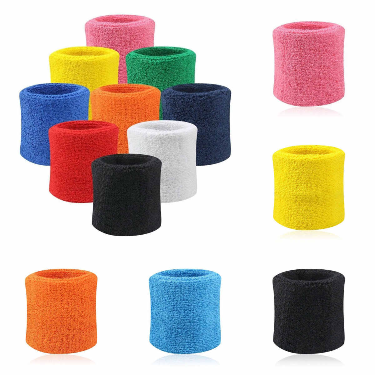 2PCs Wristbands Sport Sweatband Hand Band Sweat Wrist Support Brace Wraps Guards For Gym Volleyball Basketball Teennis Hot