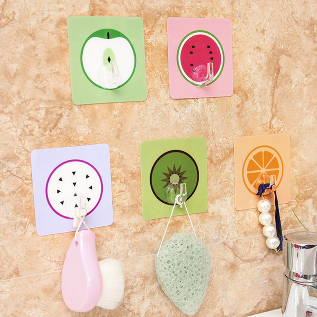 1pc Fruit Wall Hooks Hanger Seamless Strong Adhesive Wall Decorative ...
