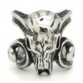 Wholesale Price New Fashion Huge Gothic Ram Goat Skull Silver Men's 316L Stainless Steel Punk Biker Finger Ring Size 8~13