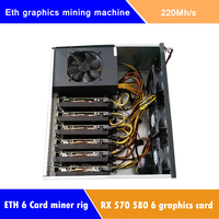 Ethereum Graphics Mining Machine RX570 220Mh/s RX580 230Mh/s 6Video card Computer Sever Miner Rig Fit ETH ETC ZEC SC Crypto Coin