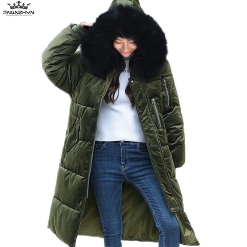 tnlnzhyn 2017 New Winter Women Coat Fashion Thick Fur Collar Hooded Down Cotton Jacket Winter Gold Velvet Down Jacket Coat Y766