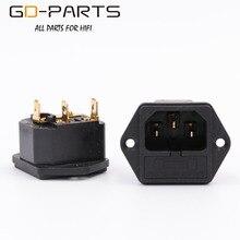 GD PARTS IEC320 C14 enchufe de CA macho con soporte de fusible, cable de alimentación de Latón chapado en oro, entrada de Audio Hifi, AC250V, 10A, 1 ud.