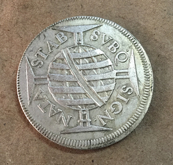 1700 Бразилия 640 Reis-Педро II Silver КОПИЯ монета