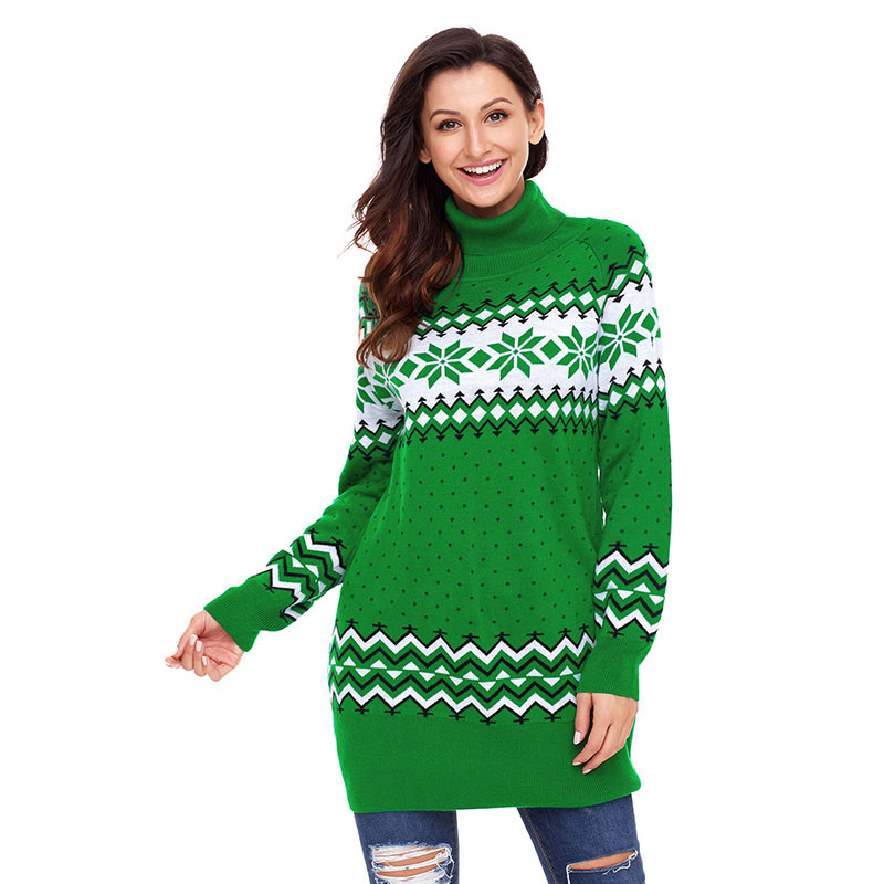 Green-Christmas-Snowflake-Knit-Turtleneck-Jumper-LC27807-9-3