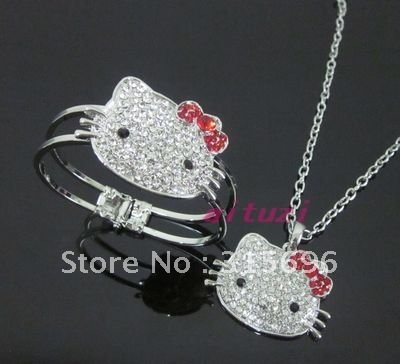 hello kitt red bow necklace bracelet bangle set 2 items m24+EMS free shipping