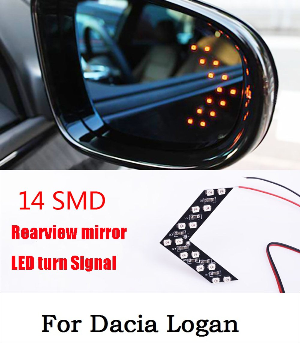 New 14 SMD LED Arrow Panel For Car Rear View Mirror Indicator Turn Signal Light Car LED Rearview mirror light For Dacia Logan 1pcs universal car amber arrow panel yellow 14 smd led car side mirror rear view indicator turn signal light lamp