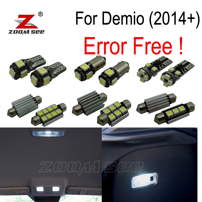 9pcs Error free LED license plate lamp + interior lights kit package for Mazda for Demio DJ for Mazda 2 (2014+) motorcycle tail tidy fender eliminator registration license plate holder bracket led light for ducati panigale 899 free shipping