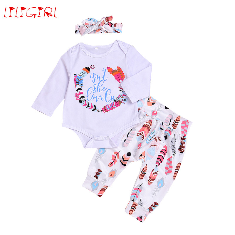 LILIGIRL 3PCS/Set Cute Newborn Baby Girl Clothes Cotton Long Sleeve Romper + Feather Trousers + Rabbit Ear Headband Outfits