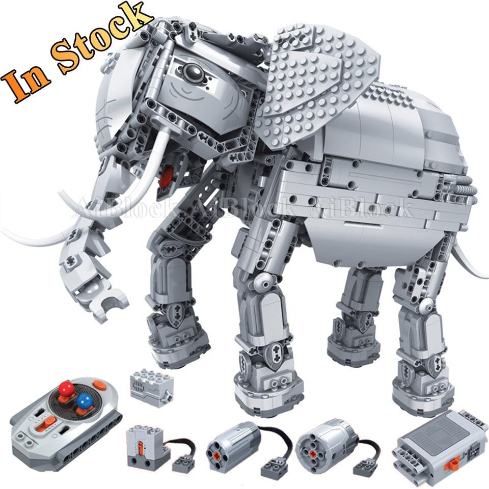 在庫電動象 Legoing で互換性のあるテクニックモデルビルディングブロックの少年誕生日プレゼントリモートコントロールのおもちゃ  グループ上の おもちゃ & ホビー からの ブロック の中 1