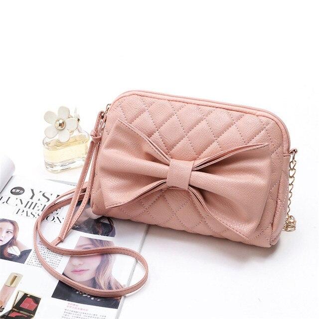 Women Messenger Bag Las Soft Leather Handbag Bow Purse Satchel Crossbody Shoulder Tote Bolsa Feminina