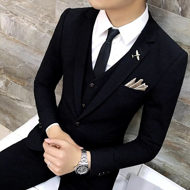 High Quality Men Black Gold Tuxedo Suit 3 Pieces Mens Formal Suits Costume Homme