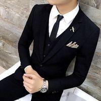 High Quality Men Black Gold Tuxedo Men Suit Black 3 Pieces Mens Formal Suits Costume Homme