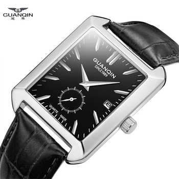 GUANQIN Watch Rectangular Quartz Mens Watches Top brand Luxury Clock Casual leather waterproof men watch erkek kol saati - DISCOUNT ITEM  48% OFF All Category