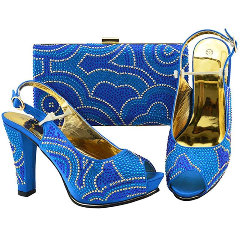 Rhinestone Italianos Bolsas Conjunto Señoras Blue purple negro Con Últimas Y Bombas Tacones Zapatos Altos A Juego Fuchsia royal Decorado Bolsos Mujeres yellow qgYd7wZ