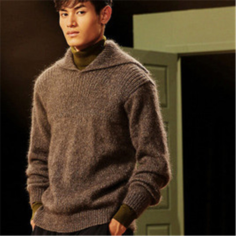 100% Hand Made Pure Wool Big Turn-down Collar Knit Men Fashion Solid Thick Pullover Sweater Customized