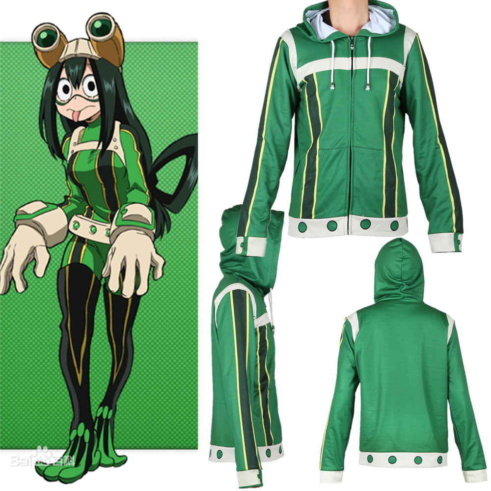 Adult Kids Anime My Hero Academia Cosplay Sweatshirt Hoodie Asui Tsuyu Jacket Coat