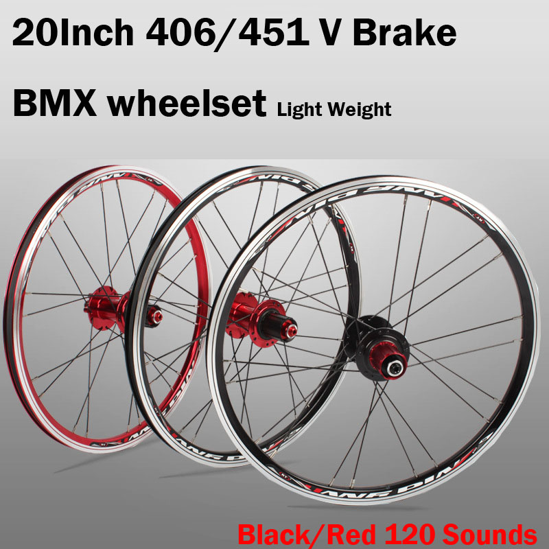 <font><b>20</b></font> inch V Brake 406/451 O.L.D. Front 74mm Rear 130mm Clincher Fold bike <font><b>BMX</b></font> Wheelset <font><b>Wheel</b></font> UD Matt image