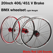 Gain 20 inch V Brake 406/451 O.L.D. Front 74mm Rear 130mm Clincher Fold bike BMX Wheelset Wheel UD Matt deal