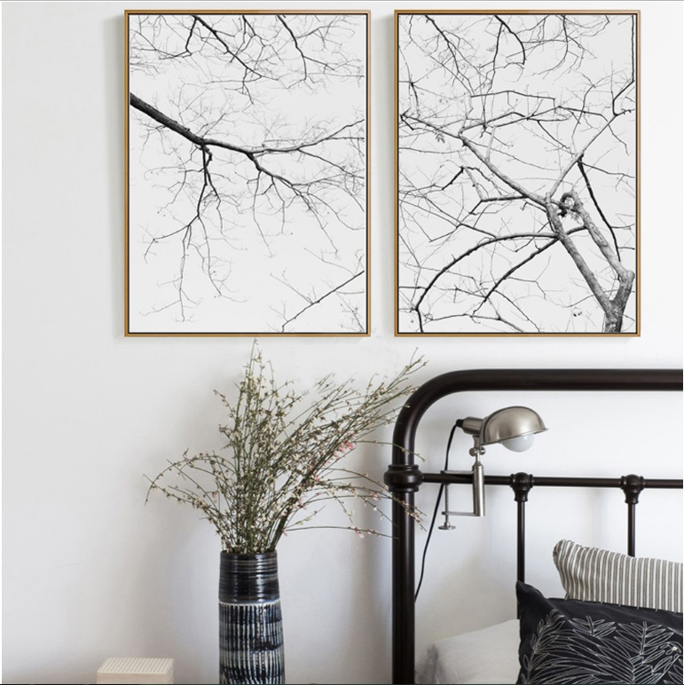 Nordic Dead Tree Decorative 2 Pieces Modular Print Picture Wall Art