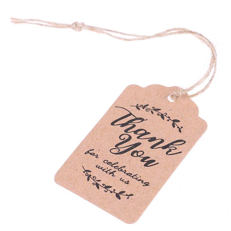 100 Pcs Grazie Tag di Carta per Baby Shower Favori di Partito Regali di Nozze Personalizzati per Gli Ospiti Marrone Kraft Tag Regalo